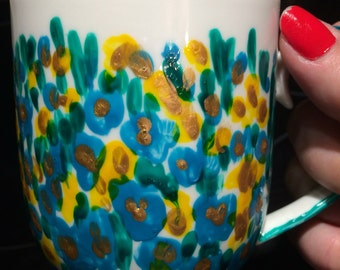 FREE POST Bright hand painted coffee mug turquoise and yellow and gold flowers