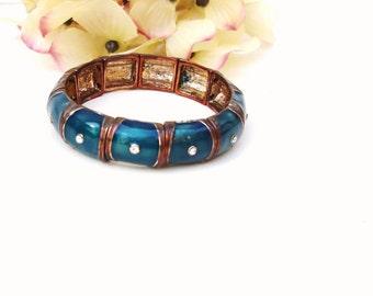 Vintage Aqua Bracelet | Enamel Links | Metal Link Bracelet | Enamel Bracelet | Turquoise Jewelry | Bangle Bracelet | Cuff Bracelet