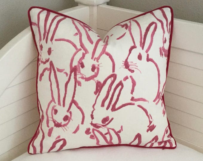 Bunny Hutch Print Designer Pillow Cover with Velvet Piping, Groundworks, Hunt Slonem, Double Sided, Pink and White Throw Pillow Cover,
