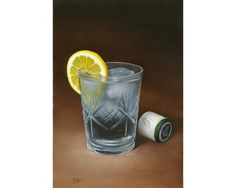 Gin and Tonic. Original fine art print of a cool gin and tonic with ice and a slice of lemon