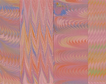Hand Marbled Paper Set: 4 Sheets 8x11 (A Subtle Rainbow)