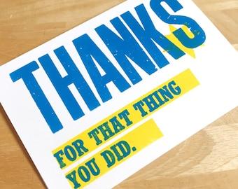 A6 letterpress 'Thank you' card..