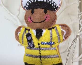 Gingerbread man Policeman/Traffic cop/British bobby/Armed police/Gingerbread Man tree ornament/decoration/Police Officer/handmade.