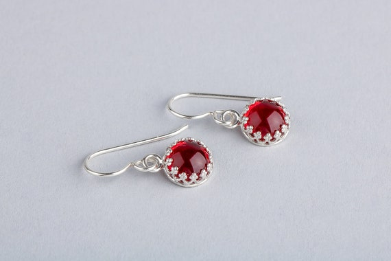 Dark Ruby Red Dangle Drop Earrings in Sterling Silver with Glass Stones - Princess Crown Earrings - Gift for her - Holiday Christmas Jewelry