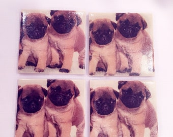 Set of 4 handmade ceramic coasters - pug dog design
