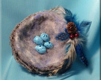 Decorative White Flocked Bird Nest with Blue Song Thrush Eggs - 5 inches
