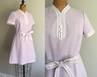 Vintage 60s Mod Mini Dress / 60s 70s Lilac White Lavender Spring A Line Flare Mini Scooter Mod Mad Men Era Pastel Dreamer Dress - Medium