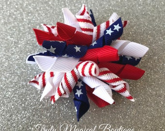 Fourth of July Hair Bow | 4th of July Hair Bow | July 4th Hair Bow | Patriotic Hair Bow | Red White and Blue Hair Bow | Fourth of July Bow