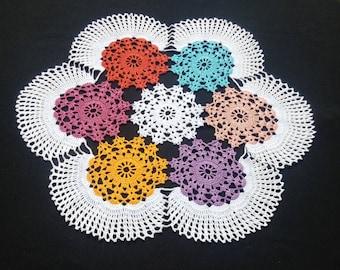Crochet doily - Large doily -Home decor-Yellow doily-Blue crochet doily -Mother's Day - Handmade tablecloth