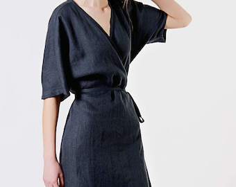 Linen Dress,  Charcoal Linen Dress, Linen Kimono Dress, Linen Wrap Dress, Charcoal Grey Dress, Linen Dresses for woman, Linen Summer Dress