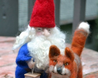 Tomten and the Fox needle felted Waldorf inspired