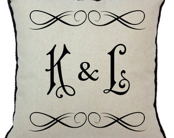 Two Letter Monogram Pillow Style 4