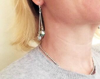 Tahitian pearls earrings, sterling silver beads, silver. Women dangling feminine earrings