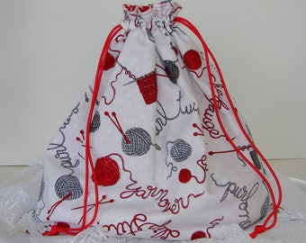 Yarn Project Bag - Red, Gray & White Rectangle