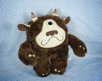Brown Plush Cyclops, soft art toy