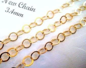 14k Gold Filled Flat Cable Chain 3.4mm-5 ft