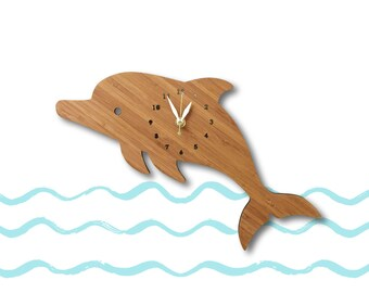 Dolphin Wall Clock with numbers, Fun Home Decor, Nursery Decor, Baby shower gift, gift for baby