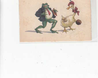 Dressed Male Frog  Is Pursuing A Female Goose With Feathered Hat, Bow, And Handbag Vintage Postcard