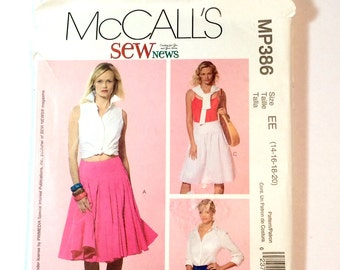 McCall's MP386, Women's Skirt Pattern, Size 14, 16, 18, 20, Uncut Pattern