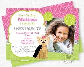 Dog Birthday Invitation, Puppy Birthday Invitation, Yorkie Dog Invitation, Puppy Party, Photo Birthday Invitation, Dog Invitations