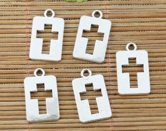 32pcs tibetan silver plated 2sided hollow cross shaped charms EF2392