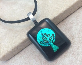 ON SALE Tree of Life Necklace, Teal Green Blue Dichroic Pendant, Fused Glass Jewelry, Dichroic Glass Jewelry, Dichroic Pendant Necklace - HE