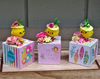 Easter Decor, Spring Decor, Spring Chick Blocks