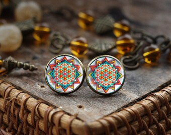 Oriental Ornaments earrings, Boho Chic stud earrings, flower of life mandala earrings, Colorful Post Earings, Glass Dome Earrings