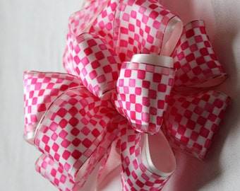 Hot Pink Satin Checkered Bow