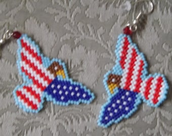 Beaded Red, White & Blue Eagle Earrings