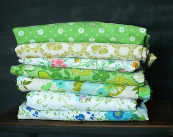 Vintage Sheet Fat Quarter Bundle - Green Floral Mix - Set of 7