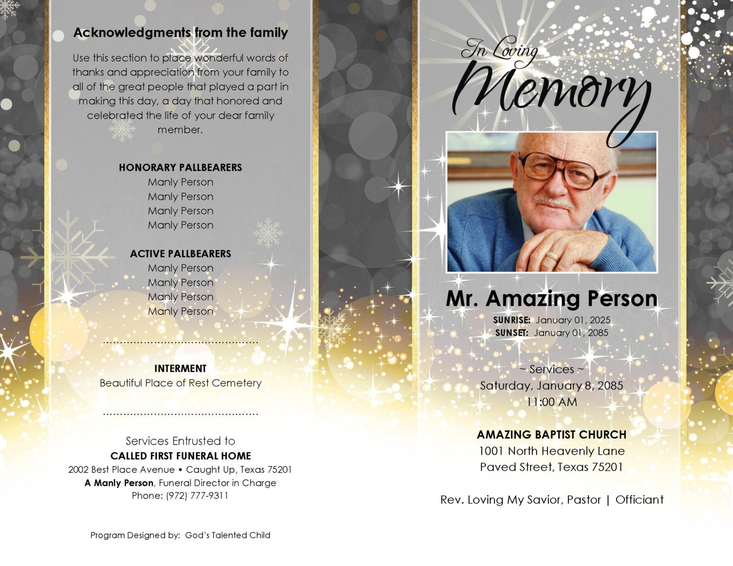 8 Page A Christmas Home Silver And Gold ... (printable Funeral Program  Template) Photo Center Spread Page, Microsoft Word Document