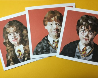The Golden Trio - 'Harry, Ron and Hermione'- Trio Pack of Handmade Greetings Cards Birthday Cards