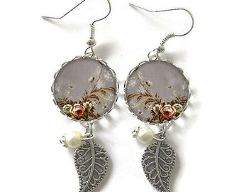 Earrings, flowers, glass cabochons, 18 mm (210218)