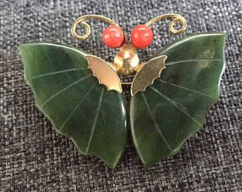 Figural brooch. Vintage  pin brooch jade and coral Butterfly.  Mother's day. Wedding jewelry. Gift for her.