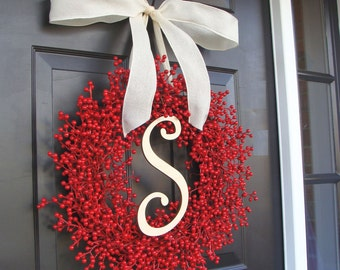Christmas Decor- Holiday Decoration- Christmas Decoration- Holiday Decor- Monogram Berry Christmas Wreath