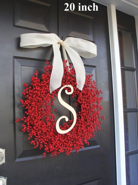 Christmas Decor- Holiday Decoration- Christmas Decoration- Holiday Decor- Monogram Berry Christmas Wreath