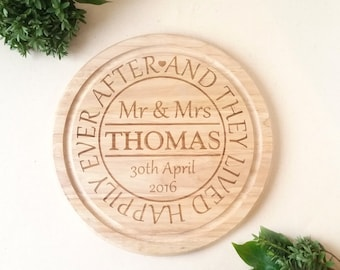 Personalised Chopping board Wedding Gift - And they lived Happily ever after -  Mr & Mrs with the name and date of the happy couple