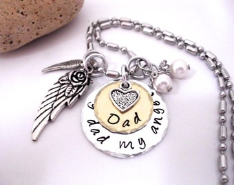 Dad Memorial Jewelry, Dad Memorial Necklace, My Dad My Angel, Dad Bereavement, Loss of Dad, Dad Loss, Loss of Parent