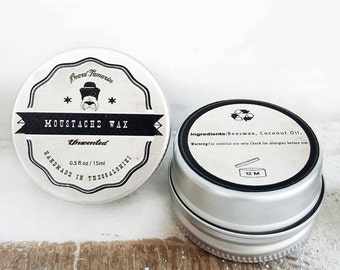 Moustache wax 0.5oz - Unscented - Greek - Organic - Strong Hold