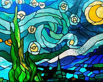 "A copper foiled stained glass version of Van Gogh's ""Starry Night"""