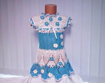 Crochet baby dresses, Girls tunic, dress summer, holiday baby dress, Girls' Clothing dress, girls dress Crocheted blue dress, birthday dress