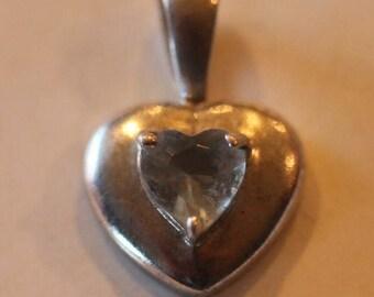 Sterling silver light blue stone heart pendant