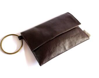 Brown Clutch, Vegan Evening Purse, Foldover Clutch, Wristlet Clutch, Envelope Clutch, Bohemian Evening Bag