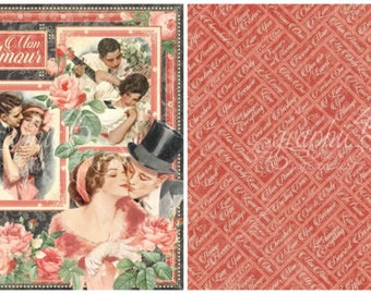 Graphic 45 Mon Amour Paper Collection Mon Amour Double Sided 12X12 Sheet
