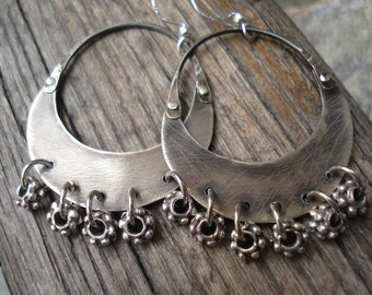 Crescent Moon Oxidized Silver Hoops Celestial Tribal Gypsy Earrings Cold Connection Sterling Silver Artisan Metalwork Earrings Boho Hoops