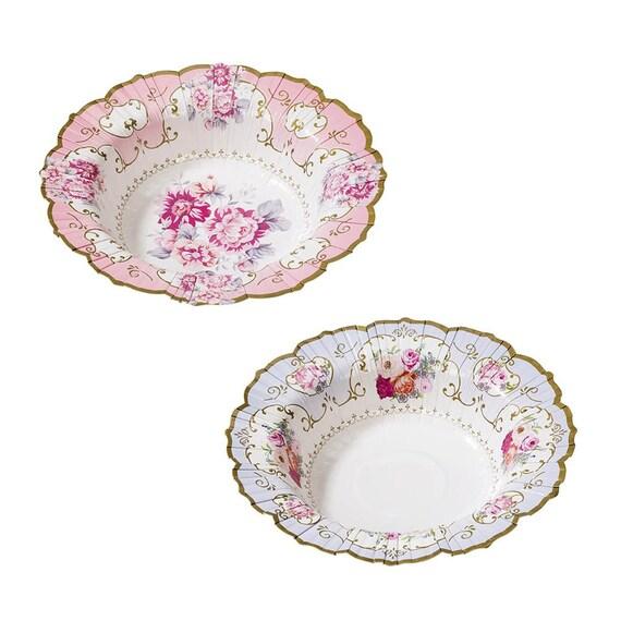 12 Party Porcelain Floral Bowls / Pink Rose Paper Plates / Floral ...