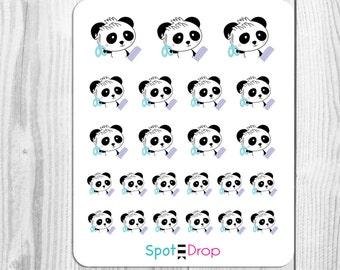 Panda Bear Hair Cut Stickers, Beauty Planner Stickers, Panda Planner Stickers // PB33