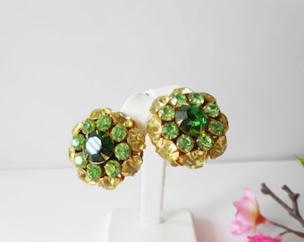Green Earrings, Vintage Earrings, Green Rhinestone, Judy Lee Jewelry, 1950's, Costume Jewelry, Clip-On Earrings, Sparkly Earrings