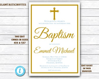 Baptism Invitation Boy, Baptism Invitation Printable, Boy Baptism Invitation, Printable Baptism Invitation, YOU EDIT, Instant Download, DIY
